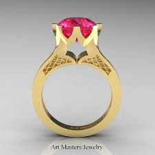 Gps Wedding Ring by Modern 14k Yellow Gold 3 0 Carat Pink Sapphire Crown Solitaire