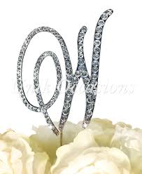 w cake topper unik occasions rhinestone wedding cake topper