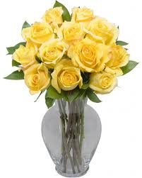 Free Vase 1 Dozen Long Stem Yellow Roses With Free Vase
