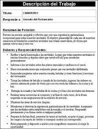 Hostess Job Duties Resume by Download Job Description Templates Spanish Version