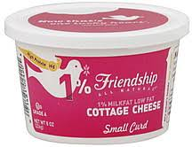 Cottage Cheese Low Fat by Friendship Cottage Cheese Low Fat Small Curd 1 Milkfat 8 0 Oz