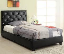 Studded Bed Frame Bed Tufted Headboard Black Headboard Wall Mounted