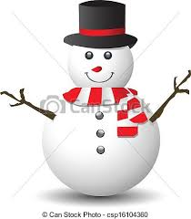 clip art vector of snowman with red and white scarf isolated on