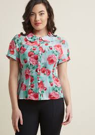 blouse button hell bunny blossom toss up button up blouse modcloth