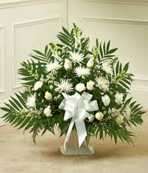 Condolence Baskets White Sympathy Basket With White Roses And Spider Mums 67 84
