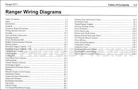 2011 ford ranger wiring diagram manual original table contents
