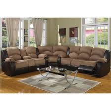 catchy brown leather sectional with recliners carrie ann
