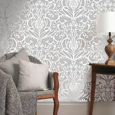 holden floral damask pattern metallic textured wallpaper silver 50011