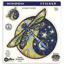 yin yang dragonfly sun moon batik decal window sticker