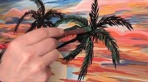 how to paint palm trees sunset acrylic painting time lapse speed