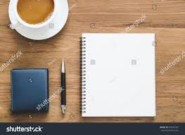 Top Of Coffee Cup Wooden Desk Table Blank Notebook Pen Stock Photo 634395335