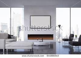front view living room fireplace poster stock illustration