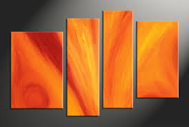 Photography Home Decor 4 Piece Orange Abstract Red Huge Canvas Art