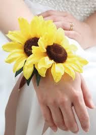 sunflower corsage yellow sunflower wrist corsage silk wedding flowers afloral