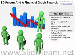 young business people 3d person and financial graph powerpoint