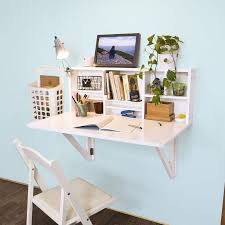 Wall Storage Shelves White High Gloss Polished Wooden Wall Mounted Study Desk With