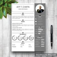 resume template modern cover letter from wordresume on etsy