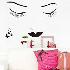 Wall Decals For Girls Bedroom Fashion Eyelash Mouth Wall Stickers Beauty Girls Wall Decals