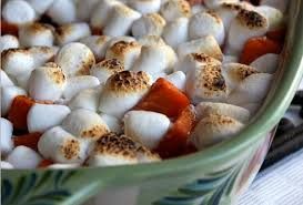 caramelized yams with toasted marshmallows