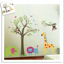 discountfan large colorful tree jungle animals wall sticker discountfan large colorful tree jungle animals wall sticker nursery bedroom wall art decor cute giraffe monkey owl tree art wall stickers kids room