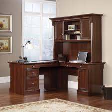 Shaped Desk Sauder 413670 Palladia Select Cherry L Shaped Desk With Hutch