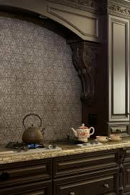backsplashes black wallpaper mediterranean estate pattern kitchen