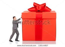 big present bow businessman push big gift box stock photo 118144807