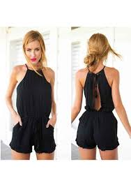 jumpsuit shorts black tie back backless pleated drawstring waist jumpsuit