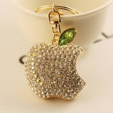 metal crystal ring holder images Cute apple new design fashion rhinestone turbo keychain keyring jpg