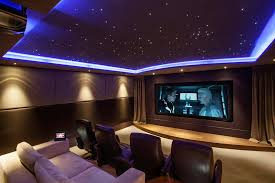home theater tv blue starscape ceiling and lcd tv on purple wall added by dark