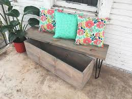 Wood Bench With Storage How To Build A Quick Outdoor Hairpin Leg Bench With Storage