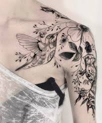 amazing hummingbird and flower tattoos on shoulder for dinga