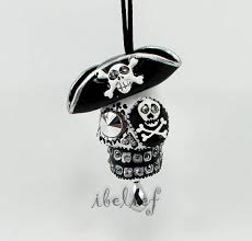 ornament skull pirate black day of dead charm hang rear view