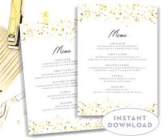 5 course menu template gold wedding menu template 5 7 editable text microsoft word with