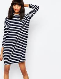 image 1 of monki stripe oversized t shirt dress shop pinterest