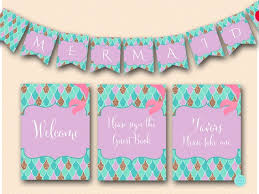 mermaid baby shower mermaid decoration signs the sea printabell express