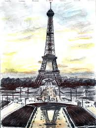 drawn eiffel tower color pencil and in color drawn eiffel tower