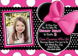 template sophisticated minnie mouse bow birthday invitations