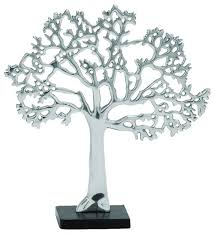 aluminum tree decor rich silver finish and black base