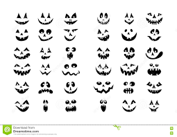 Halloween Pumpkin Icon Scary Halloween 36 Pumpkin Faces Icons Set Stock Vector Image