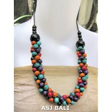 long wood bead necklace images Multi color wood beads necklaces from bali multi color wood jpg