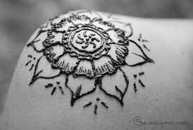 awesome 3d black flower henna tattoo on shoulder tattoo wf