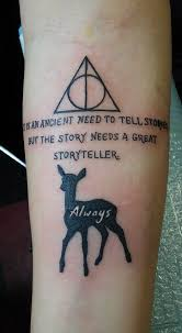 deathly hallows tattoo with quote creativefan