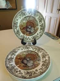 set 4 s majestic thanksgiving turkey dinner plates