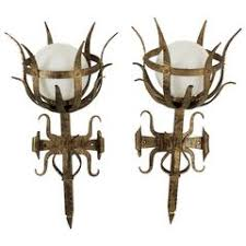 Antique Iron Sconces Pair Of Monumental Antique Iron Gothic Sconces From France Circa