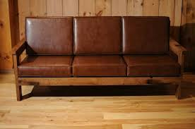 Wooden Frame Sofa Bed Reclaimed Wood Frame Couch With Leather Cushions Misc Sofa Living