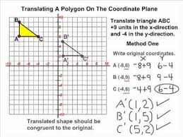 transformations translating a triangle on the coordinate plane