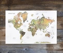 Home Decor World by Watercolor World Map Hand Lettered Map Fine Art Map Large