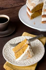 pumpkin layer cake with orange ginger filling and cinnamon cream