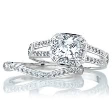 wedding rings set princess cut cz wedding ring set